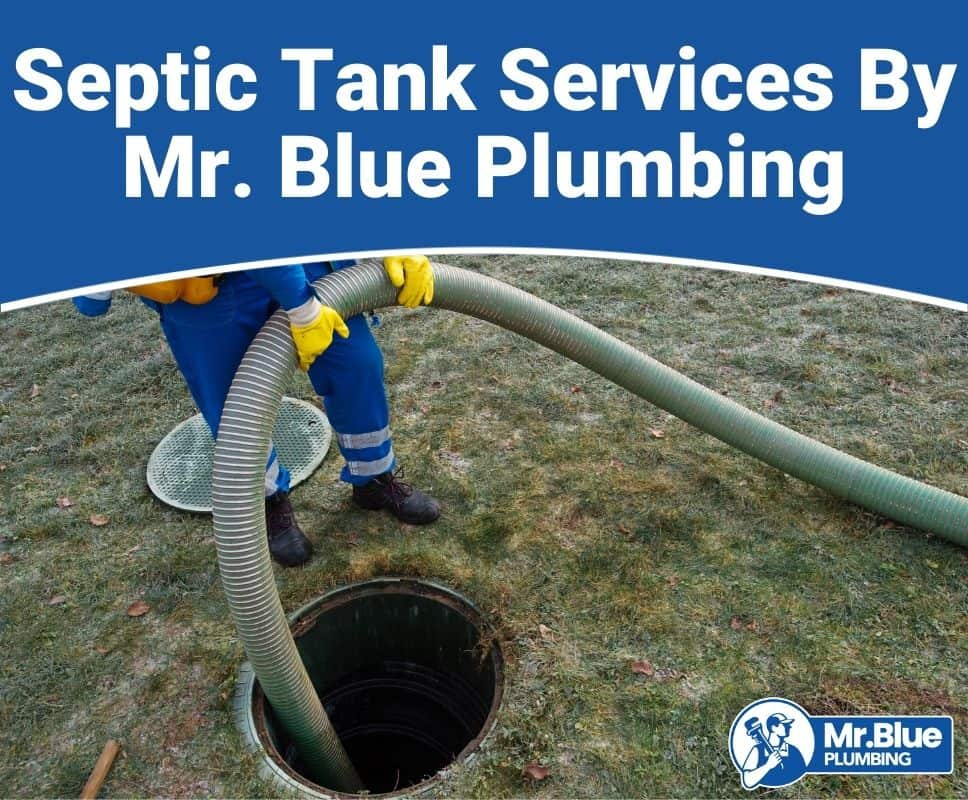 Mr. Blue Plumbing septic specialist pumping out a septic tank in a yard